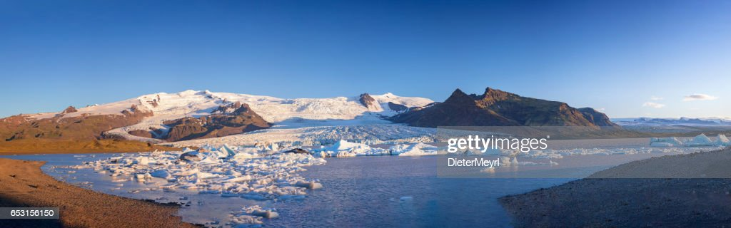 Great glacier lagoon in Iceland - Fjallsarlon at blue sky : Stock Photo