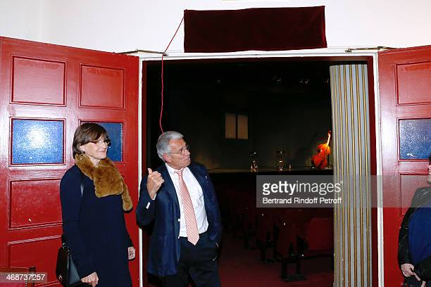 Great grandchildren of Rejane AnneMarie Perier and photographer JeanMarie Perier attend the 'Salle Rejane' Opening party in 'Theatre de Paris' on...