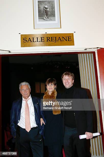Great grandchildren of Rejane photographer JeanMarie Perier with his sister AnneMarie Perier and Coowner of the Theater Richard Caillat attend the...