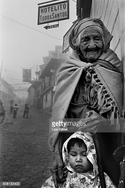 Great Grandmother and her Great Grandson in the village of Todos Santos Cuchumatan in the highlands eightytwo hundred feet above sea level an ancient...