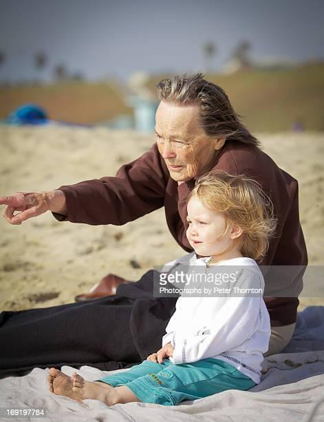 Great Grandmother teaching great grand daughter