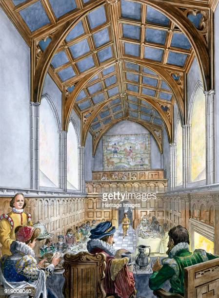 Great Hall Old Wardour Castle 16th century Reconstruction drawing of an Elizabethan banquet in the Great Hall