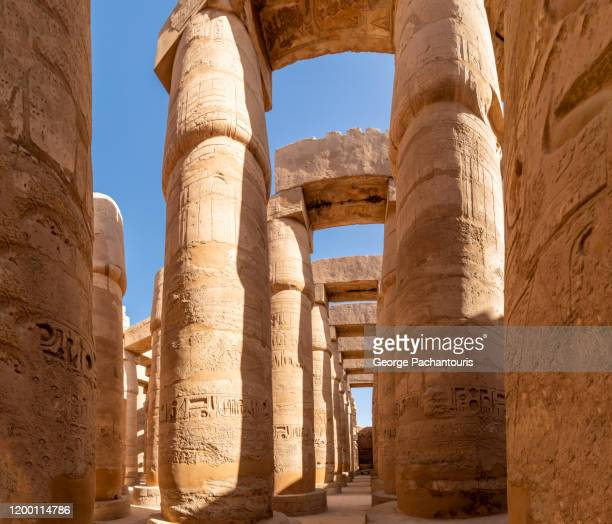 great hypostyle hall in karnak temple, egypt - temples of karnak stock pictures, royalty-free photos & images
