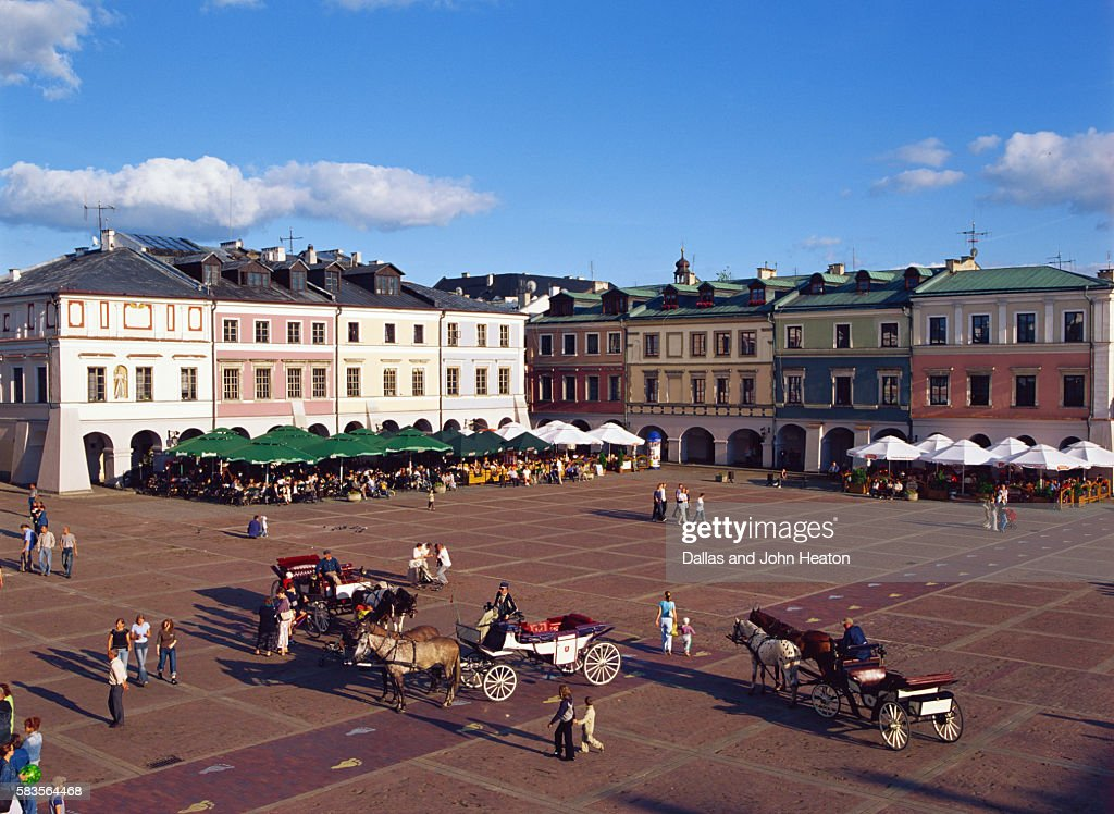 Great Market Square, Zamosc, Lublin Region, Poland : Stock Photo