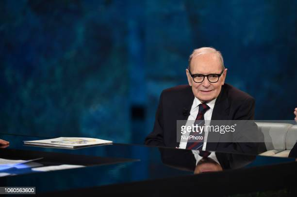 Great Master and Composer Ennio Morricone with movie director Giuseppe Tornatore guest of tv program quotChe tempo che faquot broadcast on air on Rai...