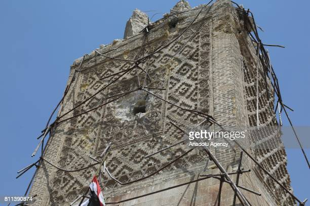 Great Mosque of alNuri and alHadba minaret are seen after Mosul completely freed from Daesh in Mosul Syria on July 9 2017 Mosul was captured by Daesh...