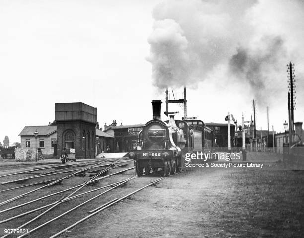 Great Northern Railway 422 steam locomotive No 665 leaving Boston station with a passenger train Lincolnshire c 1910