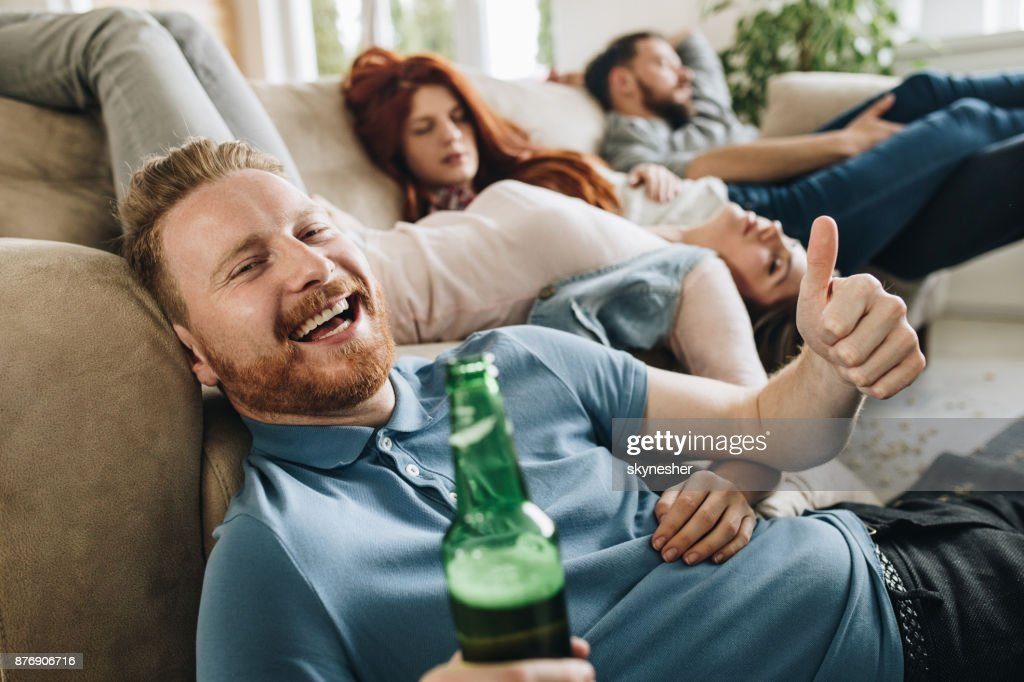 Great party ending with drunk people! : Stock Photo