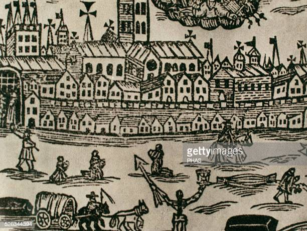 Great plague of London 16651666 Contemporary engraving People fleeing the city corpse being taken away and women praying Great Britain