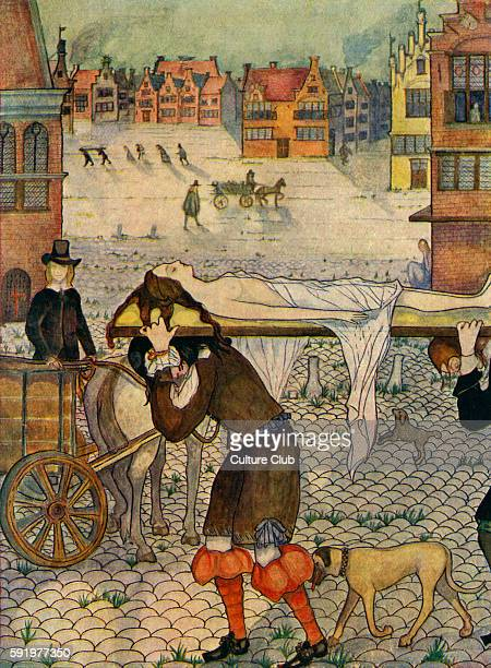 Great Plague of London - illustration by Kitty Shannon, 1926. Epidemic of bubonic plague, 1665Ð66.