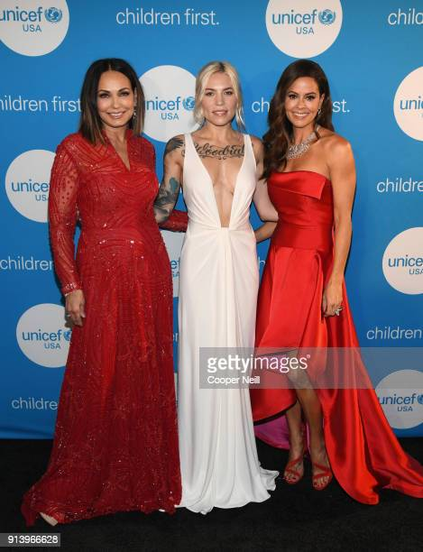 Great Plains Regional Board and Event Cochair Moll Anderson recording artist Skylar Grey and emcee Brooke BurkeCharvet at the UNICEF Gala at The...