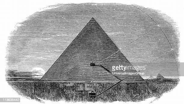 Great Pyramid of Cheops at Giza demonstrating Piazzi Smyth's theory that passage from subterranean chamber A was used to observe the Pole Star at its...