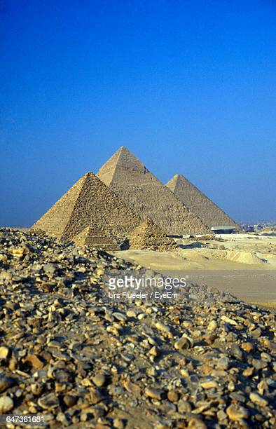 Great Pyramid Of Giza Against Clear Blue Sky