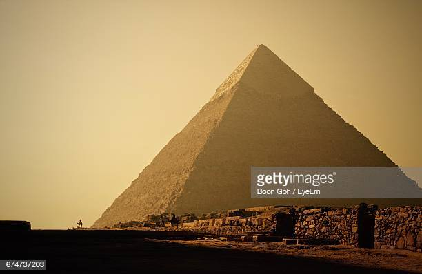 Great Pyramid Of Giza Against Clear Sky On Sunny Day