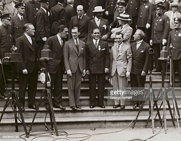 Great Reception Given to Gallant French Flyers New York Photo shows On the steps of City Hall where the flyers were officially welcomed left to right...