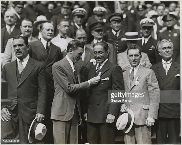 Great Reception Given to Gallant French Flyers New York Photo shows Mayor Walker of New York pinning the city's medal on Coste His comrade Bellonte...