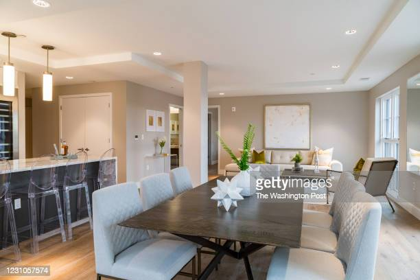 Great Room showing Kitchen, Dining, Living Rooms and Powder Room in the furnished Model at Adora on January 27, 2021 in Washington DC.