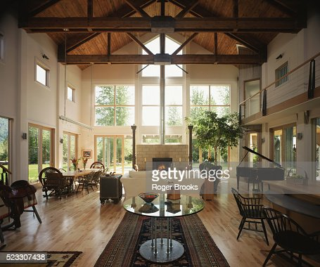 Great Room With Exposed Trusses Stock Photo Getty Images