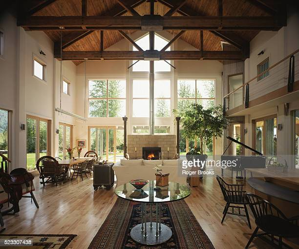 Great Room with Exposed Trusses