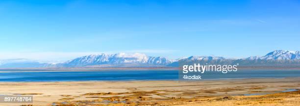 great salt lake panorama - great salt lake stock pictures, royalty-free photos & images