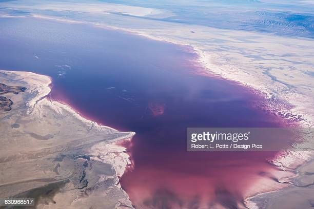 great salt lake viewed from a commercial flight - great salt lake stock pictures, royalty-free photos & images