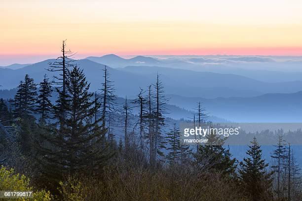 Great Smoky Mountain at sunset, Bryson City, North Carolina, USA