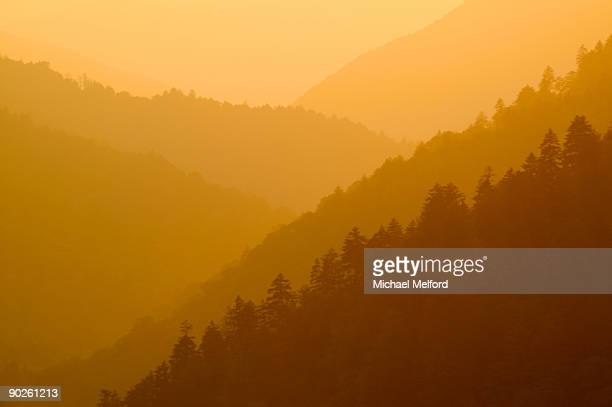 sunset along newfound gap. - newfound gap stock photos and pictures