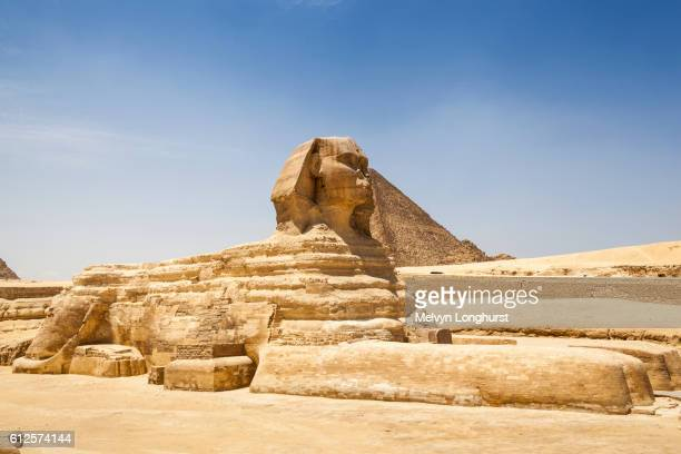 Great Sphinx and Great Pyramid of Giza, also known as Pyramid of Khufu and Pyramid of Cheops, Giza,