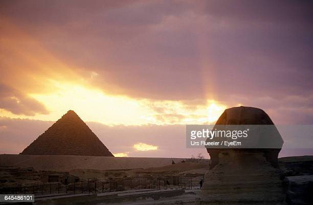 Great Sphinx Of Giza Against Cloudy Sky