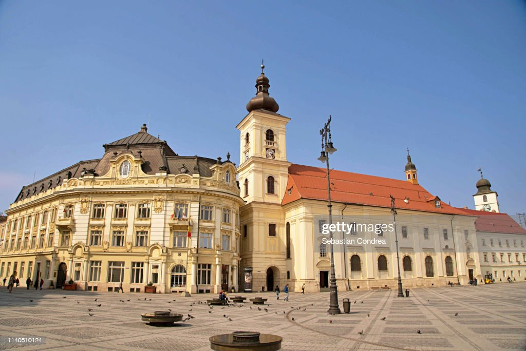 Great Square, one of the three beautiful squares in the historical center of the upper town of Sibiu, Romania : Stockfoto
