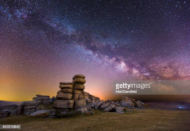 great staple tor at night - milky way stock pictures, royalty-free photos & images