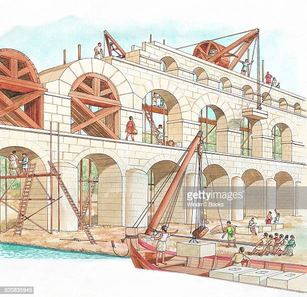 Great stone aqueducts were built to bring water into Rome through the hills The water was carried in a channel on the top Rome's first aqueduct was...