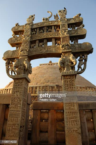 Great Stupa at Sanchi The Great Stupa was commissioned by the emperor Ashoka the Great in the third century BCE View of the torana or gateway of the...