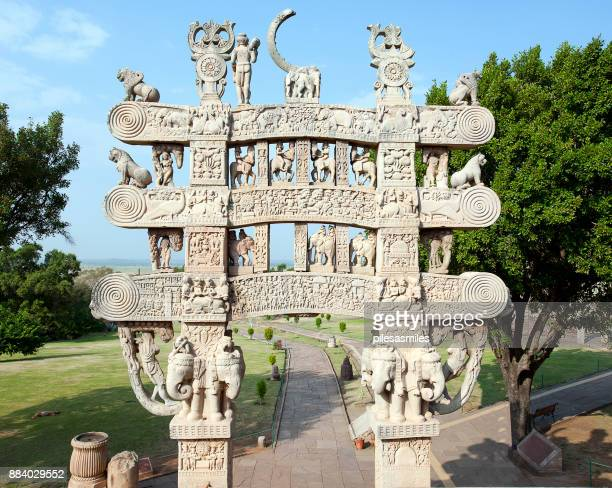 great stupa gateway detail, sanchi, india - stupa stock pictures, royalty-free photos & images