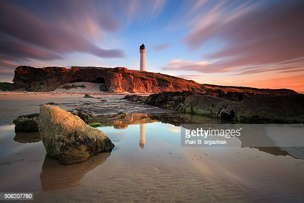 great sunset in the sea-light of lossiemouth - grampian scotland stock pictures, royalty-free photos & images