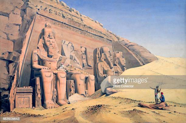 'Great Temple of Ramesses II Abu Simbel' 1846 Louis Maurice Adolphe Linant de Bellefonds better known as Linant Pasha was an explorer of Egypt and as...