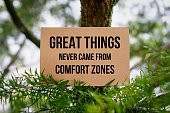 Great Things Never Came From Comfort Zones. Paper Card On Nature.