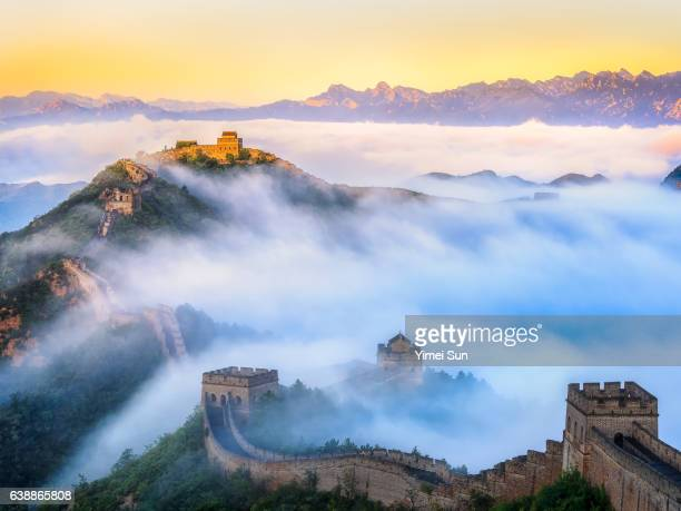 great wall at sunrise - beijing province stock photos and pictures