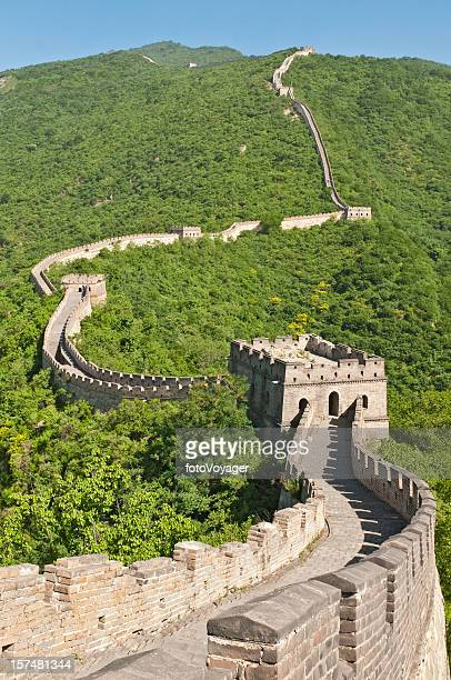 Great Wall of China watchtowers green mountains