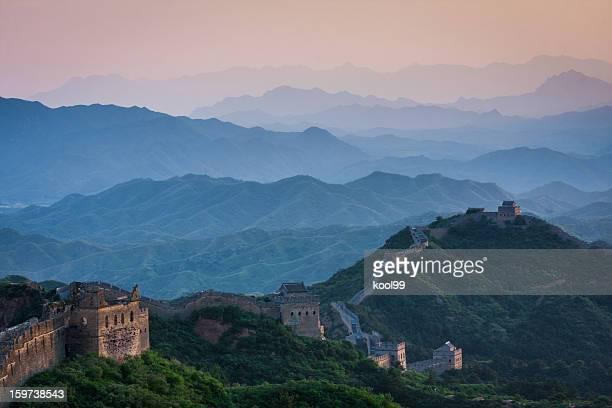 万里の長城の夕日