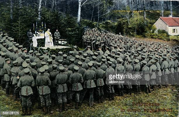 Great War postcards Catholic mass for German soldiers in a field in the Vosges Mountains 1915 Photographer ullstein Heinrich