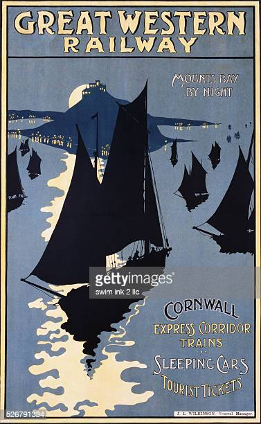 Great Western Railway Mounts Bay By Night Travel Poster