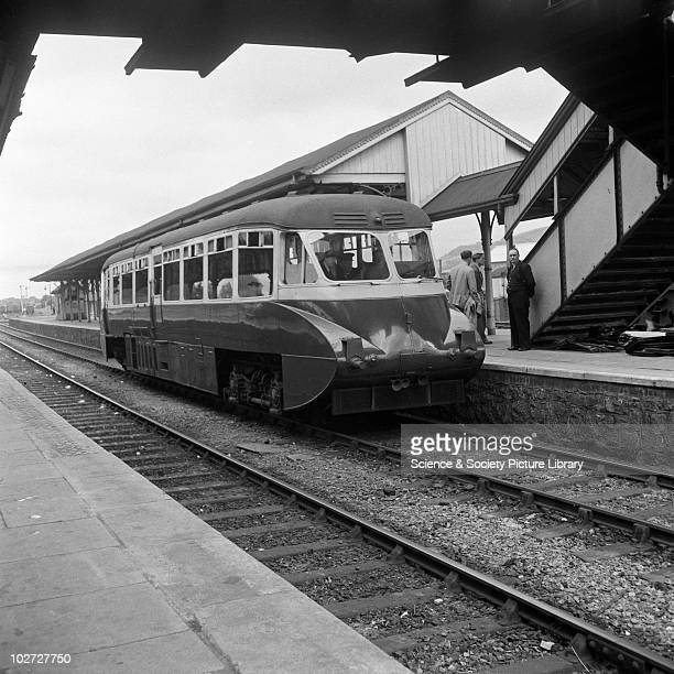 Great Western Railway Railcar W8 at Welshpool England 1953 Railway Development Society Trip England 1953