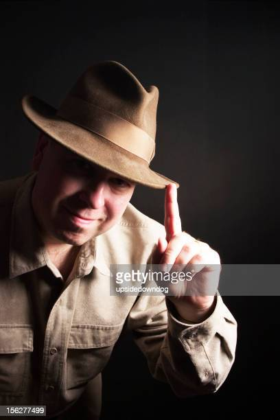 great white hunter series - brown hat stock photos and pictures