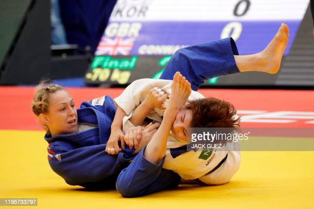 Great-Britain's Sally Conway competes against Korea's Seongyeon Kim during women's under 70 kg weight category match during the Tel Aviv Grand Prix...