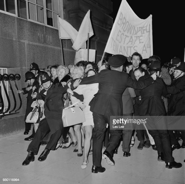 Greater London Council tenants clash with police during a protest against proposed increase in rents County Hall London UK 25th July 1968