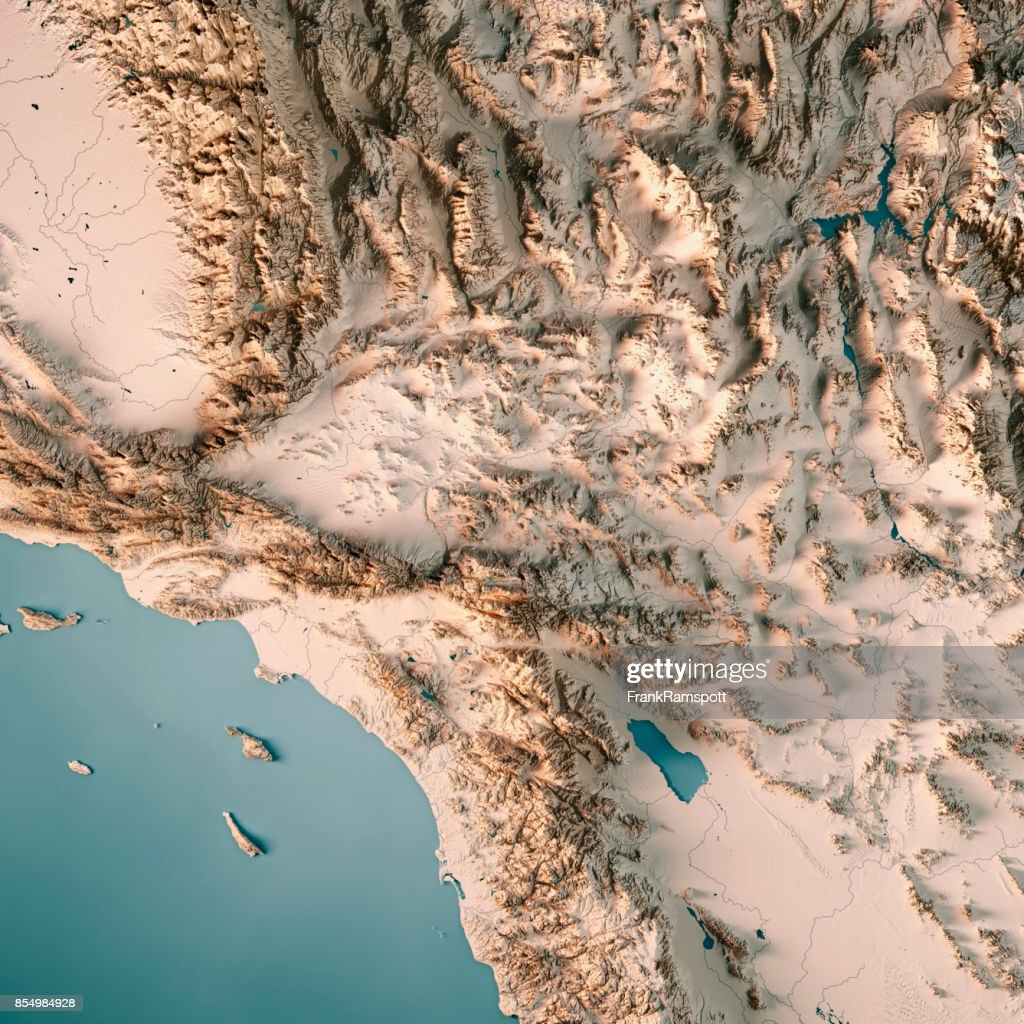 3d Topographic Map Of Usa.Greater Los Angeles Area Usa 3d Render Topographic Map Neutral Stock