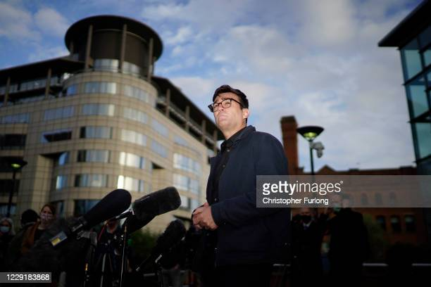Greater Manchester mayor Andy Burnham speaks to the media outside Bridgewater Hall, in the shadow of the North West Nightingale Hospital at...