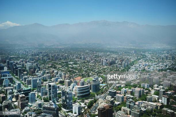 Greater Santiago is viewed from the observation deck at sky Costanera on December 09, 2019 in Santiago, Chile. Chile is facing over 50 days of often...