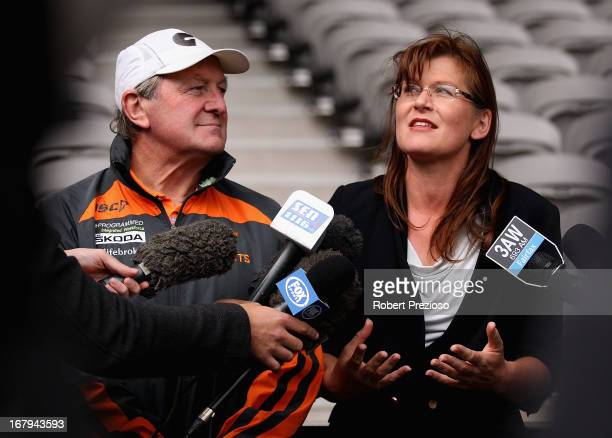 Greater Western Sydney Giants coach Kevin Sheedy and Senator Kate Lundy speak to the media during the launch of the Building Australia Tribute Match...